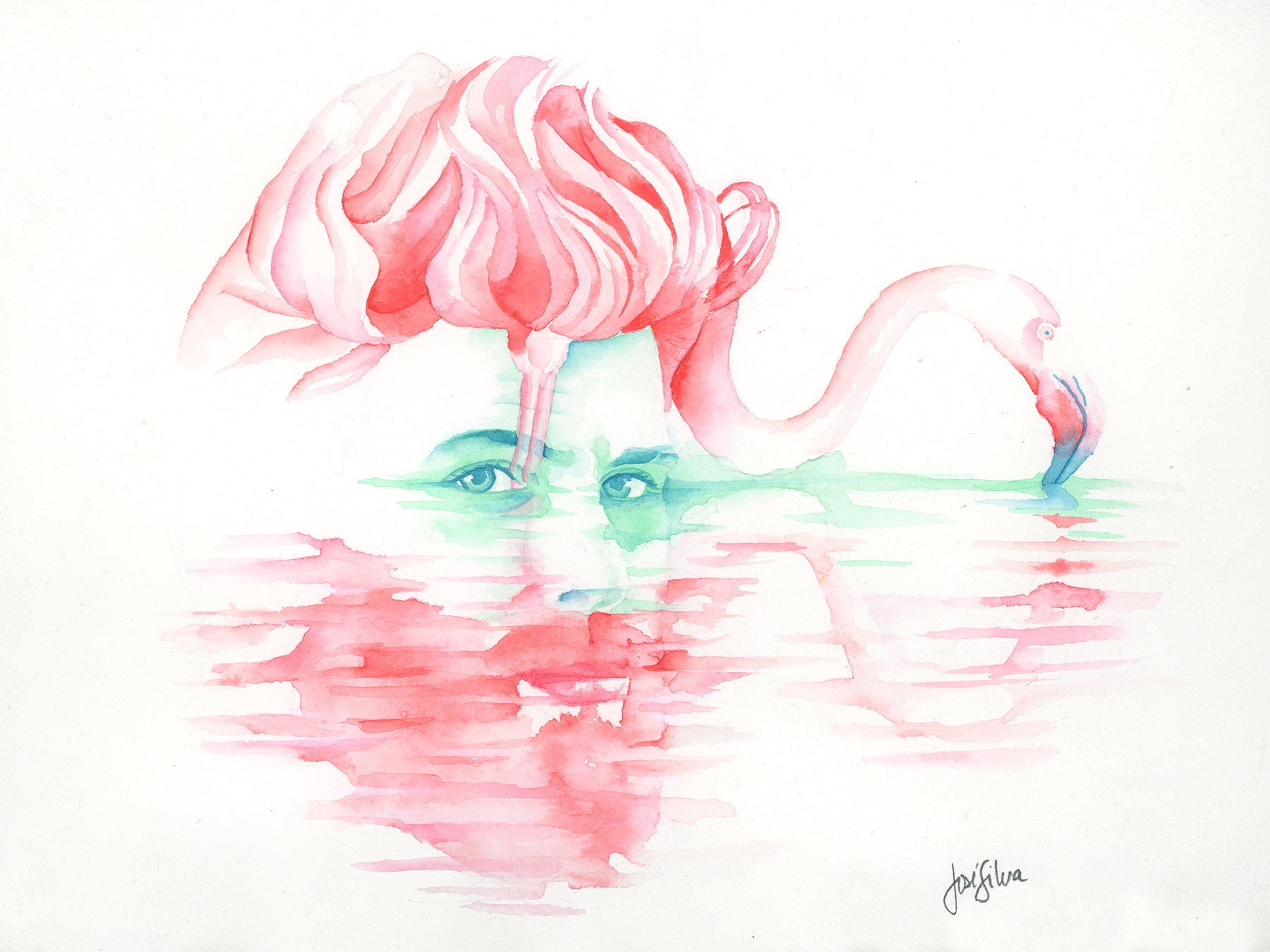 "10x8 ""Flamingo Reflects Johnny"" Premium Giclée Print"