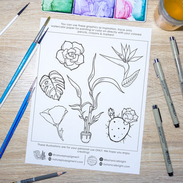 Free Plant Paint Nite & Coloring Sheets!