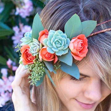 DIY Succulent & Floral Hair Piece