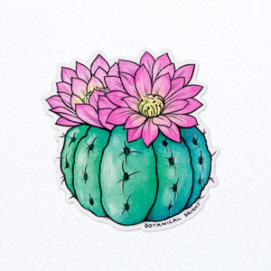 Round Blooming Cactus Vinyl Sticker