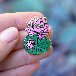 Lotus Pond Enamel Pin Set