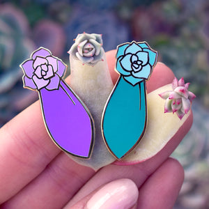 Succulent Propagation Enamel Pin Set - Green & Purple