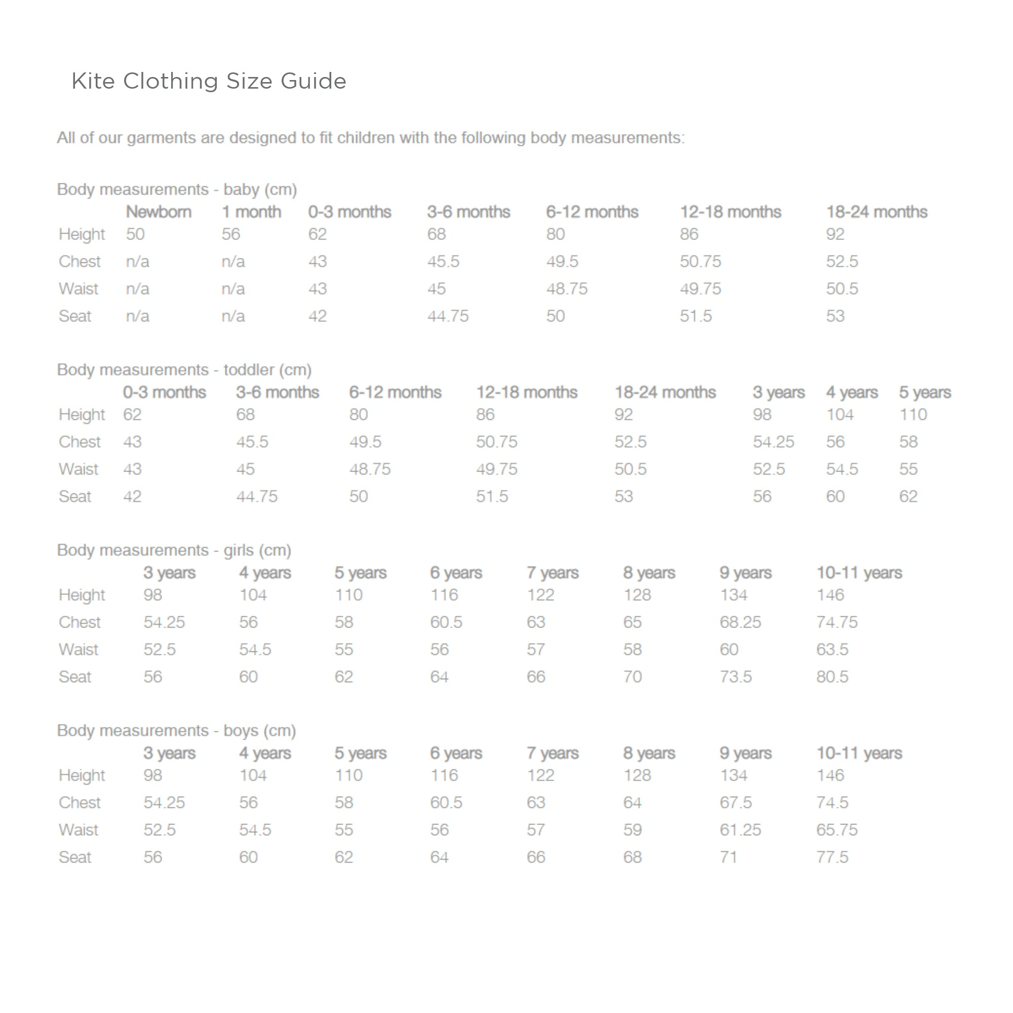 Kite Clothing Size Guide