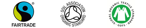 Fairtrade Soil Association and GOTS Icons