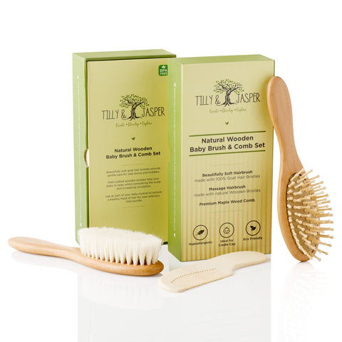Wooden baby hairbrush and comb set by Tilly & Jasper