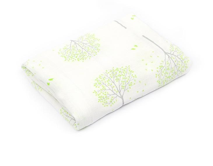 Giant Organic Bamboo Muslin Swaddle Cloth with Green Tree Print