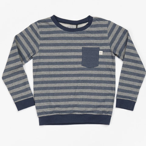 Alba Jais Sweatshirt - Mood Indigo Striped - Organic Cotton