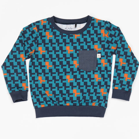 Image of Alba Jais Sweatshirt - Storm Blue Cubes - Organic Cotton