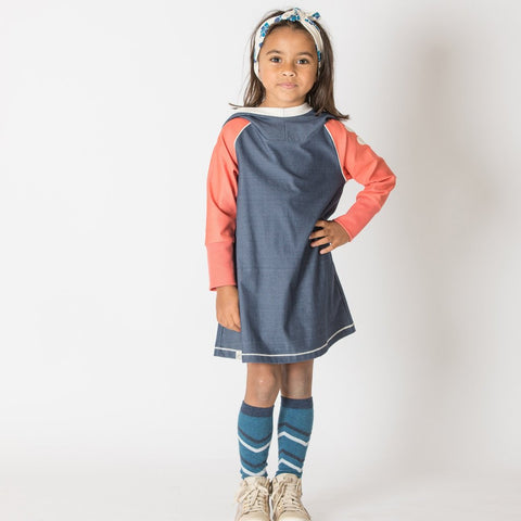 Alba Hope Hood Dress - Mood Indigo - Tilly & Jasper