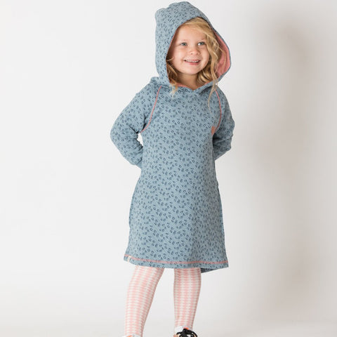 Alba Linh Hood Dress - Citadel Wild Flower - Organic Cotton
