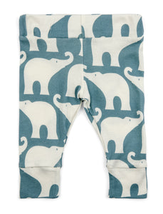 Organic Cotton Leggings - Blue Elephant