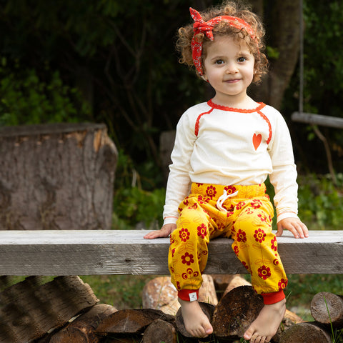 Alba Lucca Baby Pants - Old Gold Fairy Tail Flowers