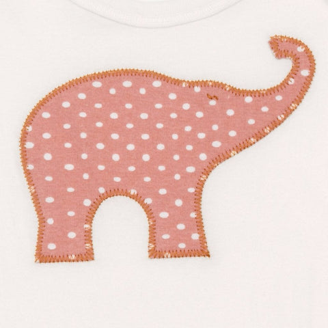 Organic Applique One Piece - Rose Dot Elephant