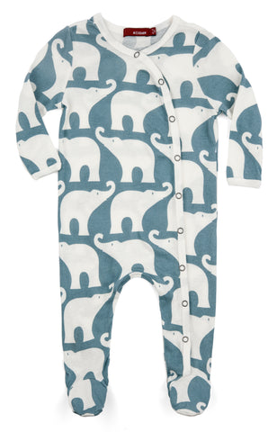 Organic Footed Romper - Blue Elephant