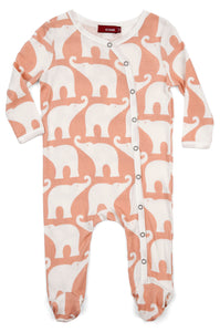 Organic Footed Romper - Rose Elephant