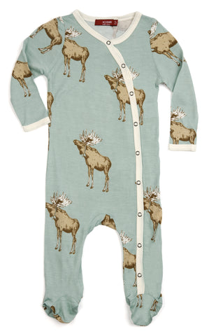Organic Bamboo Footed Romper with Blue Moose Design