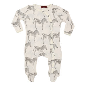 Organic Footed Romper - Grey Zebra