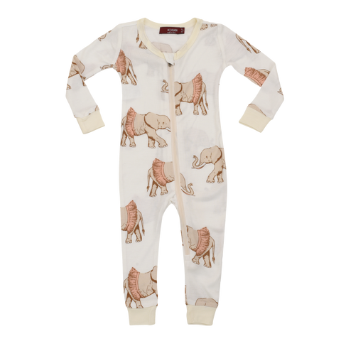 Image of Bamboo Zipper Pyjama - Tutu Elephant - Tilly & Jasper