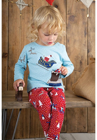 Image of Frugi Little Libby Printed Leggings - Penguin Play