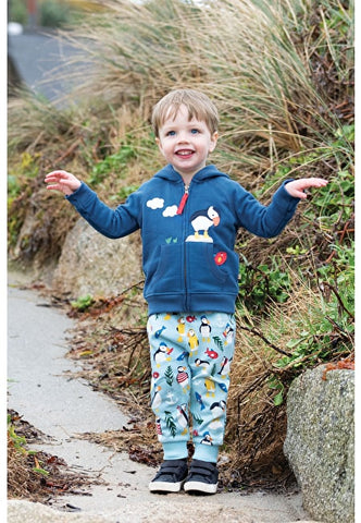 Image of Frugi Snuggle Crawlers - Tidal Blue Paddling Puffins - Tilly & Jasper