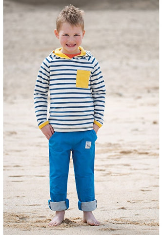 Frugi Campfire Hooded Top - Marine Blue Chunky Breton