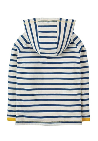 Image of Frugi Campfire Hooded Top - Marine Blue Chunky Breton - Tilly & Jasper