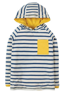 Frugi Campfire Hooded Top - Marine Blue Chunky Breton - Tilly & Jasper