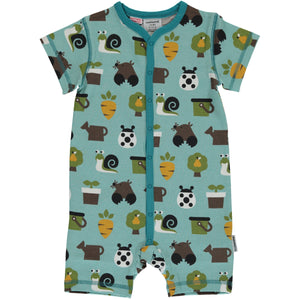 Maxomorra SS Button Romper - Garden