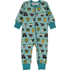 Maxomorra Long Sleeve Zip Romper- Garden
