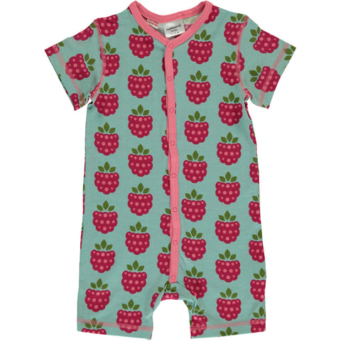 Maxomorra SS Button Romper - Raspberry