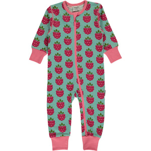 Maxomorra Long Sleeve Zip Romper- Raspberry