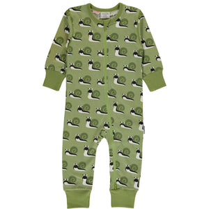 Maxomorra Long Sleeve Zip Romper- Snail