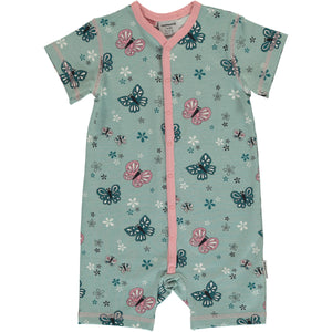 Maxomorra SS Button Romper - Butterfly
