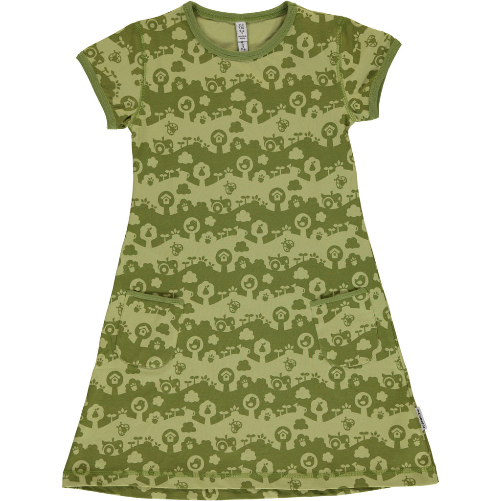 Maxomorra Short Sleeve Dress - Garden Landscape