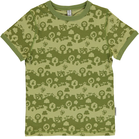 Maxomorra Short Sleeve Top - Garden Landscape
