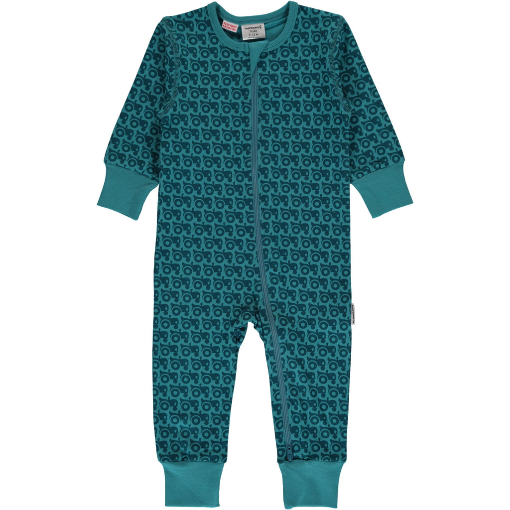 Maxomorra Long Sleeve Zip Romper- Tractor
