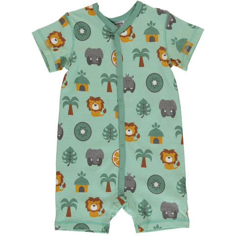 Maxomorra SS Button Romper - Jungle