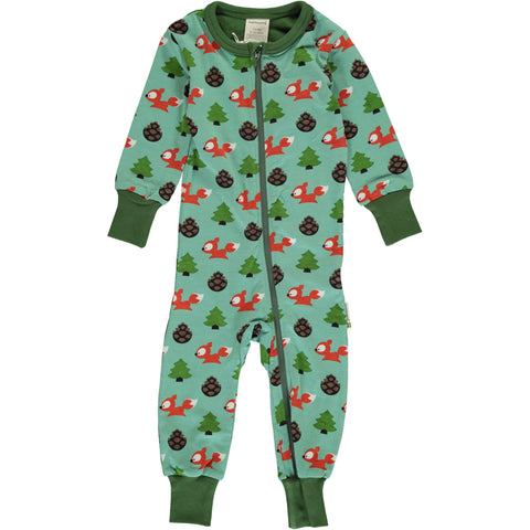 Maxomorra Long Sleeve Zip Romper (Slimfit) - Busy Squirrel