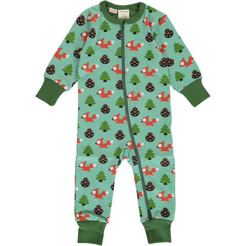 Maxomorra Long Sleeve Zip Romper - Busy Squirrel