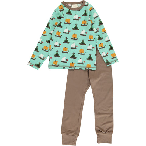 Maxomorra Long Sleeve Pyjama Set - Raft Race