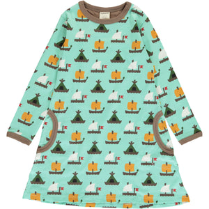 Maxomorra Long Sleeve Dress - Raft Race