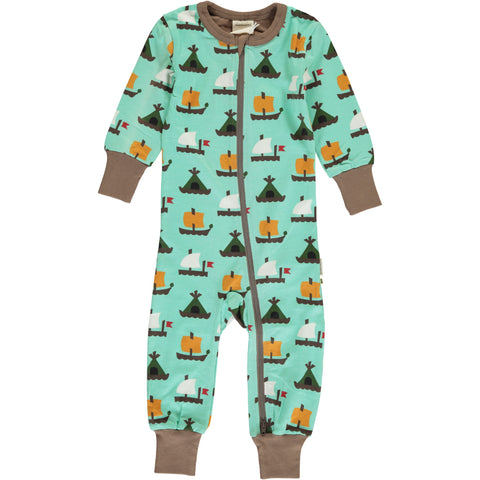 Maxomorra Long Sleeve Zip Romper (Slimfit) - Raft Race