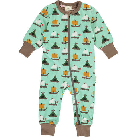 Maxomorra Long Sleeve Zip Romper - Raft Race