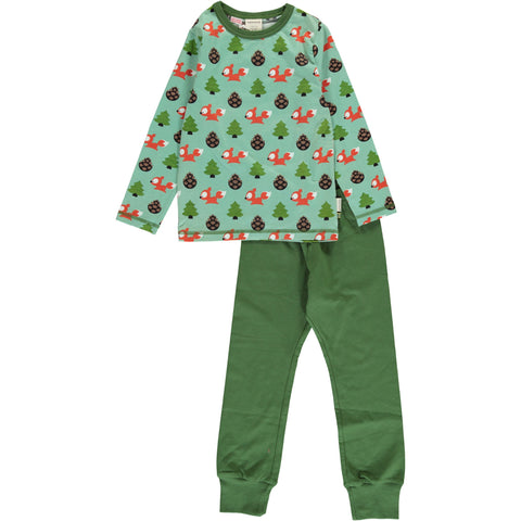 Maxomorra Long Sleeve Pyjama Set - Busy Squirrel