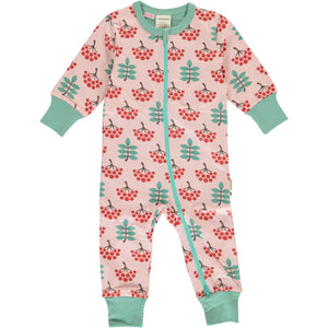 Maxomorra Long Sleeve Zip Romper - Ruby Rowanberry