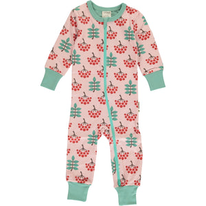 Maxomorra Long Sleeve Zip Romper (Slimfit) - Ruby Rowanberry