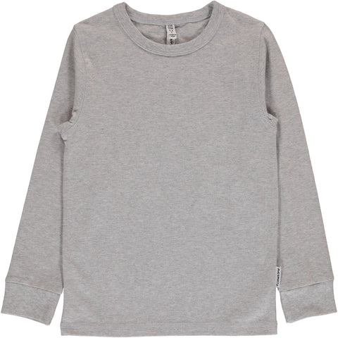 Maxomorra Long Sleeve Top - Light Grey Melange