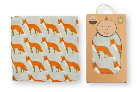 Organic Cotton Muslin Swaddle Blanket - Orange Fox