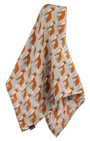 Image of Organic Cotton Muslin Swaddle Blanket - Orange Fox