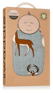Organic Cotton Muslin Swaddle Blanket - Blue Buck